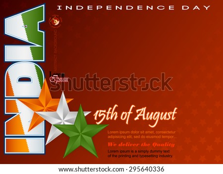 Holidays layout template with National flag colors of India; Orange, white and green stars on national flag colors for fifteenth of August, Indian Independence Day  - stock vector