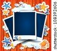 Holidays on the beach, photo frames. Custom background - stock vector