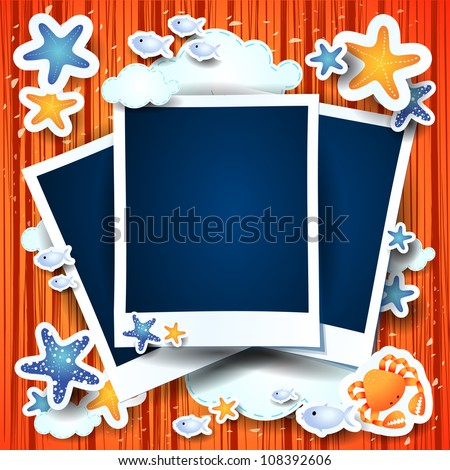Holidays on the beach, photo frames. Custom background - stock vector