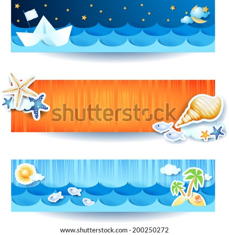 Holidays on the beach, set of banners. Vector eps 10 - stock vector