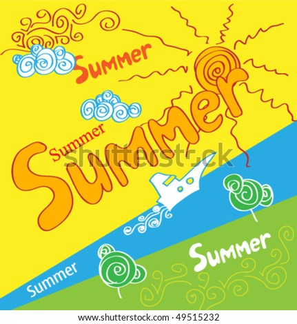 holidays summer poster - stock vector