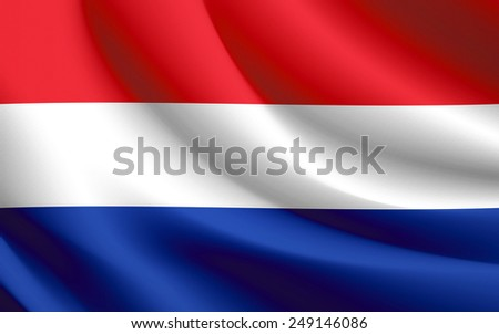 Holland Flag waving realistic fabric effect in vector format - stock vector