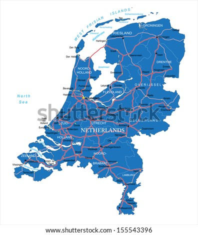 Holland map - stock vector