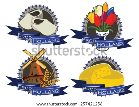 Holland Products. Vector set of Stickers and Symbols - stock vector