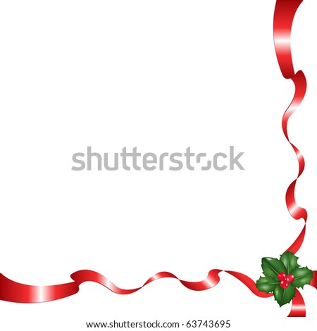 Holly Berry And Red Tapes, Isolated On White Background, Vector Illustration - stock vector