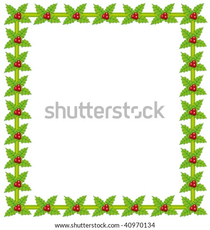 Holly berry beautiful vector frame.