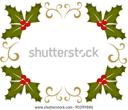 Holly berry Christmas frame. Vector illustration