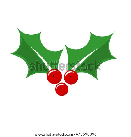 Holly berry Christmas plant symbol. Vector illustration