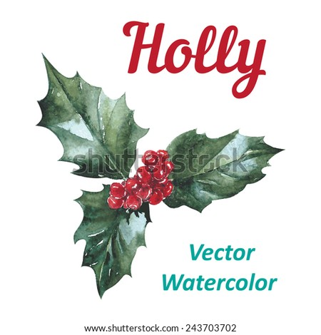 Holly berry icon, Christmas symbol. Vector watercolor - stock vector