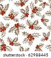 Holly berry. Seamless pattern - stock vector