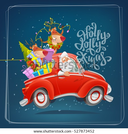 Holly Jolly cartoon christmas card. Happy Santa Claus and reindeer drive car with gifts.  Cute Christmas characters.  Creative typography for Holiday design. Greeting card poster vector template