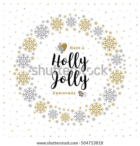 holly jolly christmas card minimalist style stock vector royalty