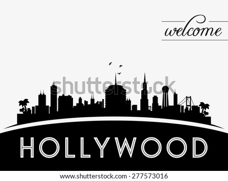 Hollywood USA skyline silhouette, black and white design, vector illustration