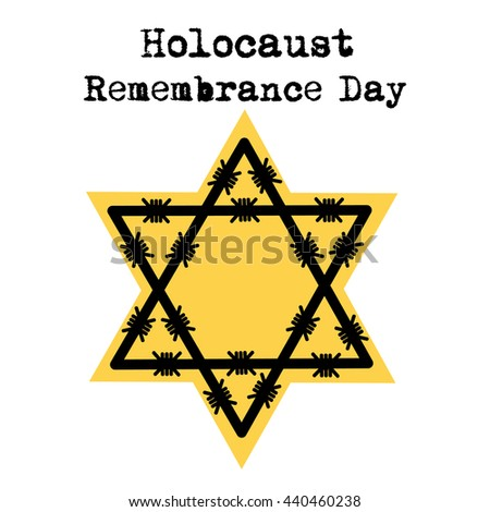 Holocaust Remembrance Day Jewish Star Barbed Stock Vector 440460238