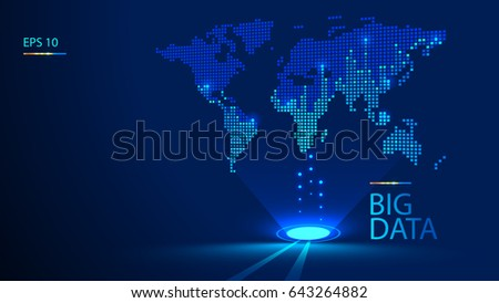 Hologram world map background perspective large stock vector hologram world map background in perspective large data is transferred gumiabroncs Choice Image