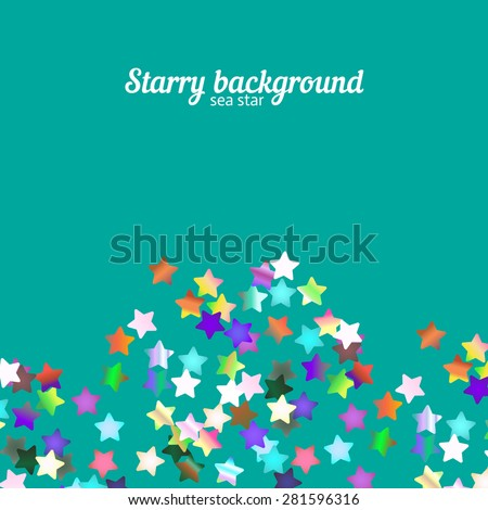 Holographic foil stars glitter on bright background with copy space