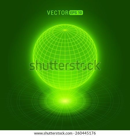 Holographic globe against the green abstract background with circles and light source - stock vector