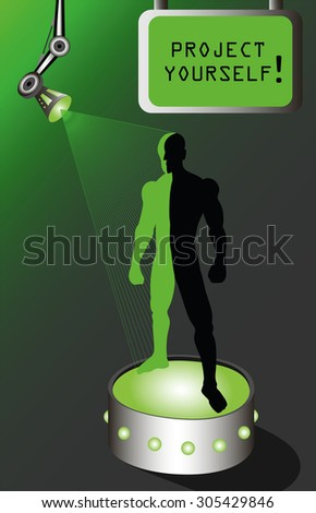 holographic  projection of a man standing on platform