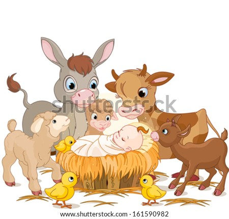Holy child with donkey, lambs, goat and calf - stock vector