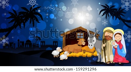 Holy Family in Bethlehem on the night with hut donkey and ox-transparency blending effects and gradient mesh-EPS10 - stock vector