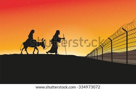 Holy Family Refugees - Mary and Joseph with donkey  in sunset scenery with border fence - stock vector