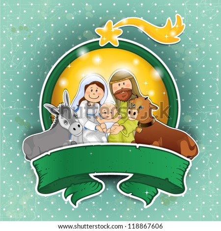 Holy Family with ox and ass rim lights and banners with  background vintage turquoise - stock vector