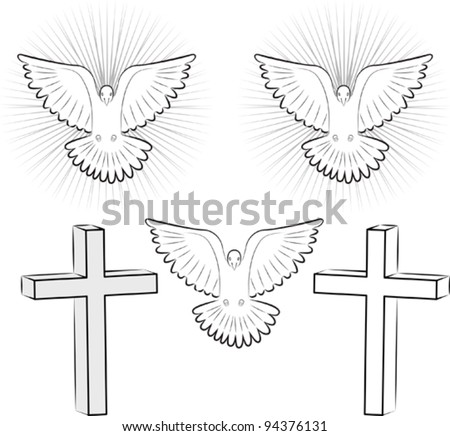 Holy Ghost and cross - stock vector