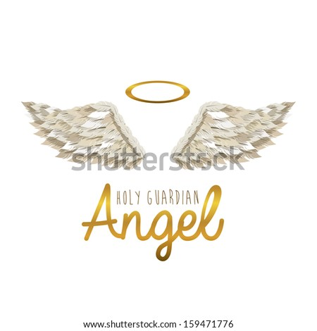 holy guardian angel over white background vector illustration - stock vector