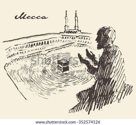 Holy Kaaba in Mecca Saudi Arabia with praying man, vintage engraved illustration, hand drawn, sketch - stock vector