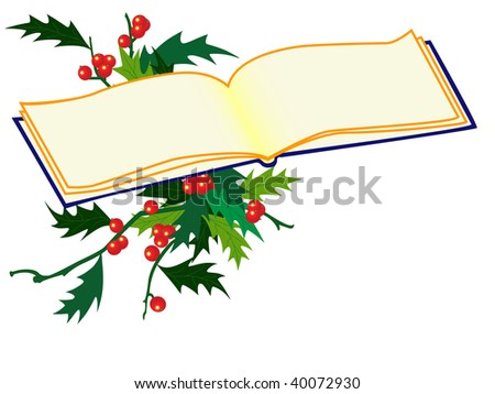 holy leaf sprigs with red berries and book