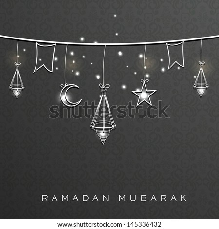 Holy month of muslim community Ramadan Kareem background with hanging arabic lanterns, stars and moon. - stock vector
