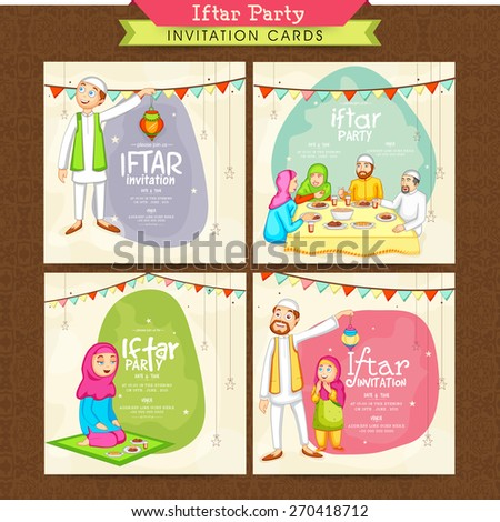 Holy month of Muslim community, Ramadan Kareem Iftar Party celebration invitation card set with illustration of happy Islamic people.  - stock vector