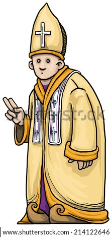 Holy pope like man, giving a blessing vector  - stock vector