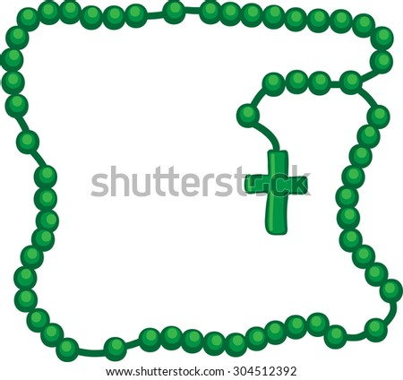 Holy Rosary. Green frame with rosary. Wooden catholic rosary beads, religious symbols, rosary necklace, praying symbol. Vector illustration. - stock vector
