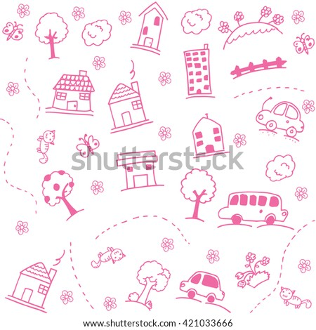 Home and buildings doodle art  with white backgrounds