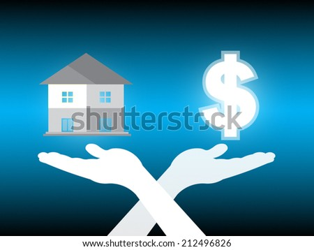 Home and dollar in hand on dark background. - stock vector