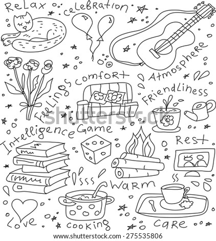 Home and family symbol seamless pattern Seamless pattern with sign of happy family domestic life. Doodles black and white vector illustration.  - stock vector
