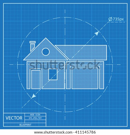 Home and garage, vector illustration. Blueprint style - stock vector