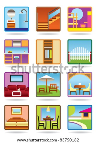 Home and garden furniture icon set - vector illustration