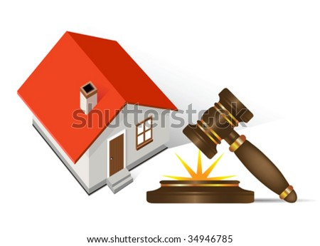 Home and gavel real estate; all elements and textures are individual objects. Vector illustration scale to any size.