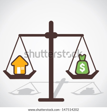 home and price is equal concept vector - stock vector