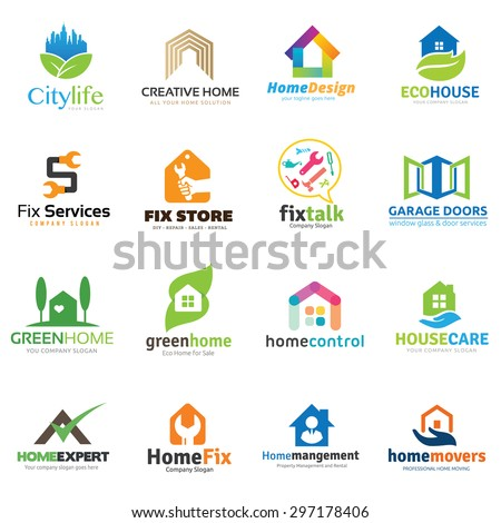 Home and real estate logo collection, House logo, DIY home,home repair,home store,eco,house care and home management,home for rent,home for sale, tool logo,property logo, vector logo collection. - stock vector