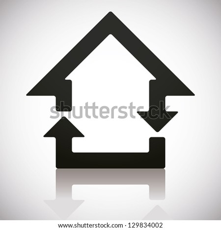 Home and reload icons combined, vector symbol. - stock vector