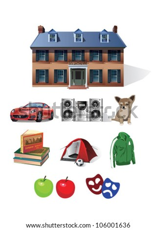 Home and vacation - stock vector