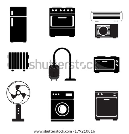 Home appliance icons set, black isolated on white background, vector illustration. - stock vector