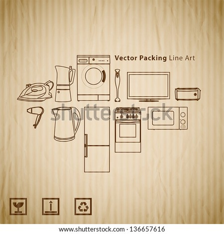 home appliance line illustrations on cardboard texture - stock vector