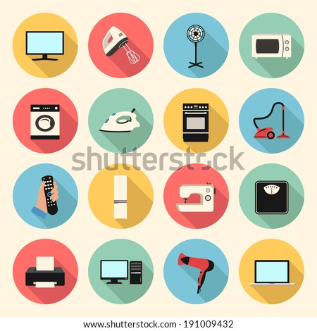 home appliances and electronics colorful flat style icons set. template elements for web and mobile applications - stock vector