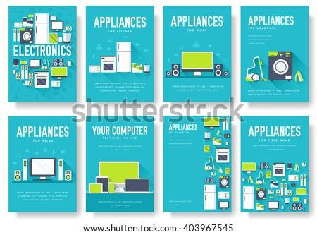home appliances cards set electronics template stock vector 403967545 shutterstock. Black Bedroom Furniture Sets. Home Design Ideas