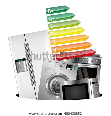 Home appliances consumption isolated on white background