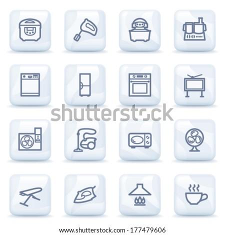 Home appliances contour icons on plastic buttons stock vector